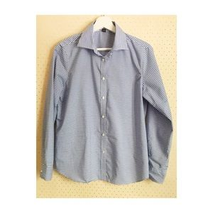 Chaps Blue and White Striped Button-Up Shirt